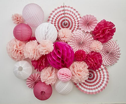 UPC 684357999066, Tissue Paper Flower Pom Pom Lantern Fan Birthday Baby Bridal Shower Wedding Prom Party 27 pcs Decoration Kit PINK SPRING Celebration Stylists Favorite