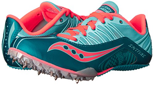 Saucony Women's Spitfire Spike Shoe, Teal/Coral, 7 M US by Saucony (Image #6)