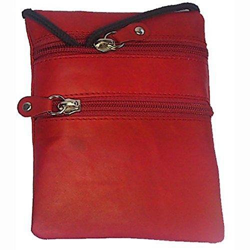 Echtleder Brusttasche Reisetasche Umhängetasche Geldbeutel Brustbeutel Leder Beutel Hülle Etui Tasche Wandertasche Halsband Schlaufe, Rot