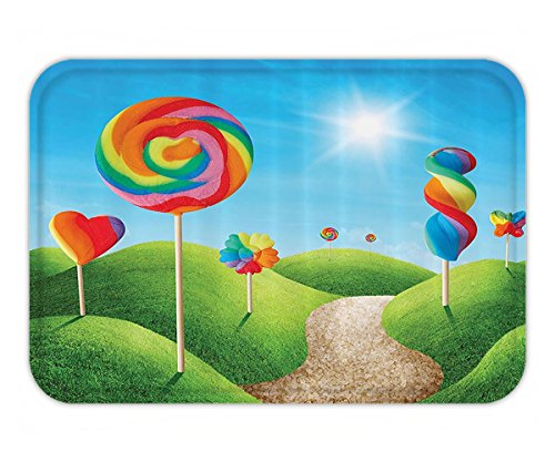 Beshowere Doormat Fantasy House Decor Fantasy Candy Land With DeliciouLollypopBright Sun Cheering Illustration Fabric Bathroom Set with HookLong Green - California Candyland