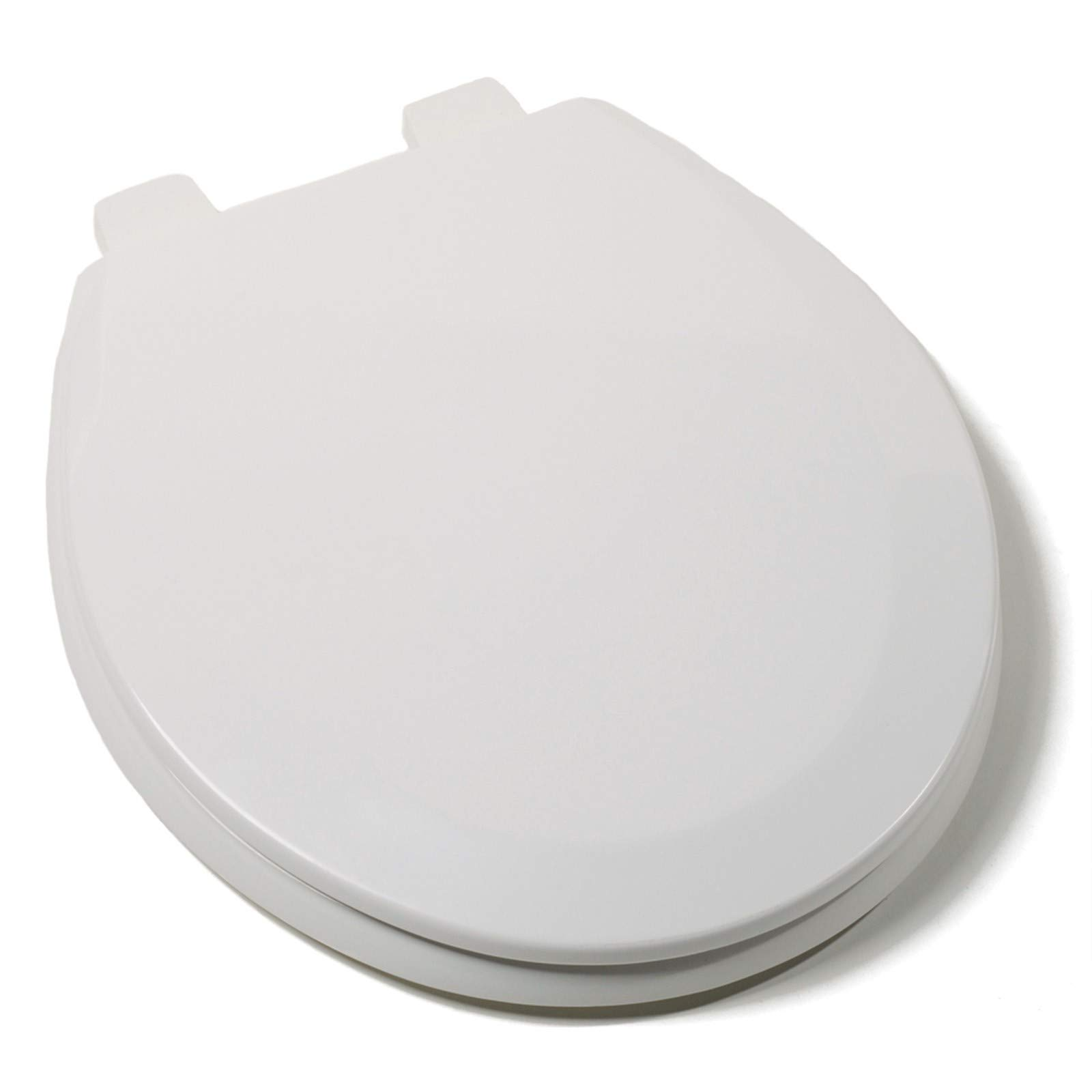 Premium Round Wood Toilet Seat with Cover, White, Quick Clean, Adjustable Hinges, Fits All Round Toilets by HowPlum