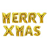 LOKIPA 40inch MERRY XMAS Balloon Banner Gold Foil Letters Balloons for Christmas Day