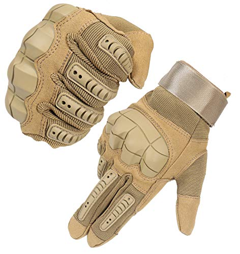HIKEMAN Full Finger Touch Screen Tactical Military Gloves Hard Knuckle Gloves for Hunting Shooting Motorcycle Cycling Hiking (Tan, X-Large)
