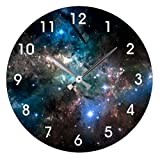 Antique Wood Clock for Bedroom Space Stars Wall Clock Art Decorative for Kids Room 12 Inch