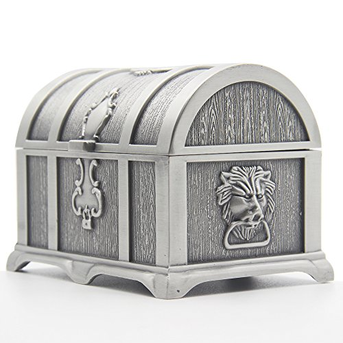 AVESON Rectangle Vintage Metal Treasure Chest Trinket Jewelry Box Gift Box Ring Case for Girls Ladies Women, Medium, Tin Color ()