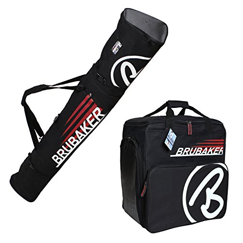 HENRY BRUBAKER ''Champion'' Combo Ski Boot Bag and Ski Bag for 1 Pair of Ski up to 170 cm, Poles, Boots and Helmet - Black Red by BRUBAKER