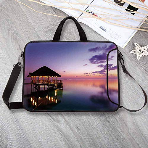 - Tropical Large Capacity Neoprene Laptop Bag,Arbor with Lights on Sea at Dramatic Night Paradise Maldives Sky Exquisite Coast View Laptop Bag for 10 Inch to 17 Inch Laptop,8.7