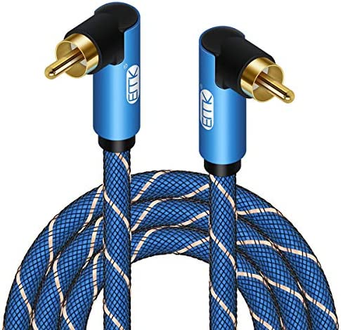 Double 90 Degree Subwoofer Cable RCA to RCA Audio Cable 24K Gold-Plated Nylon Braided Double Shielded Digital Analogue Supports Amplifiers,Home Theater,Hi-Fi Systems,Subwoofer (10ft)