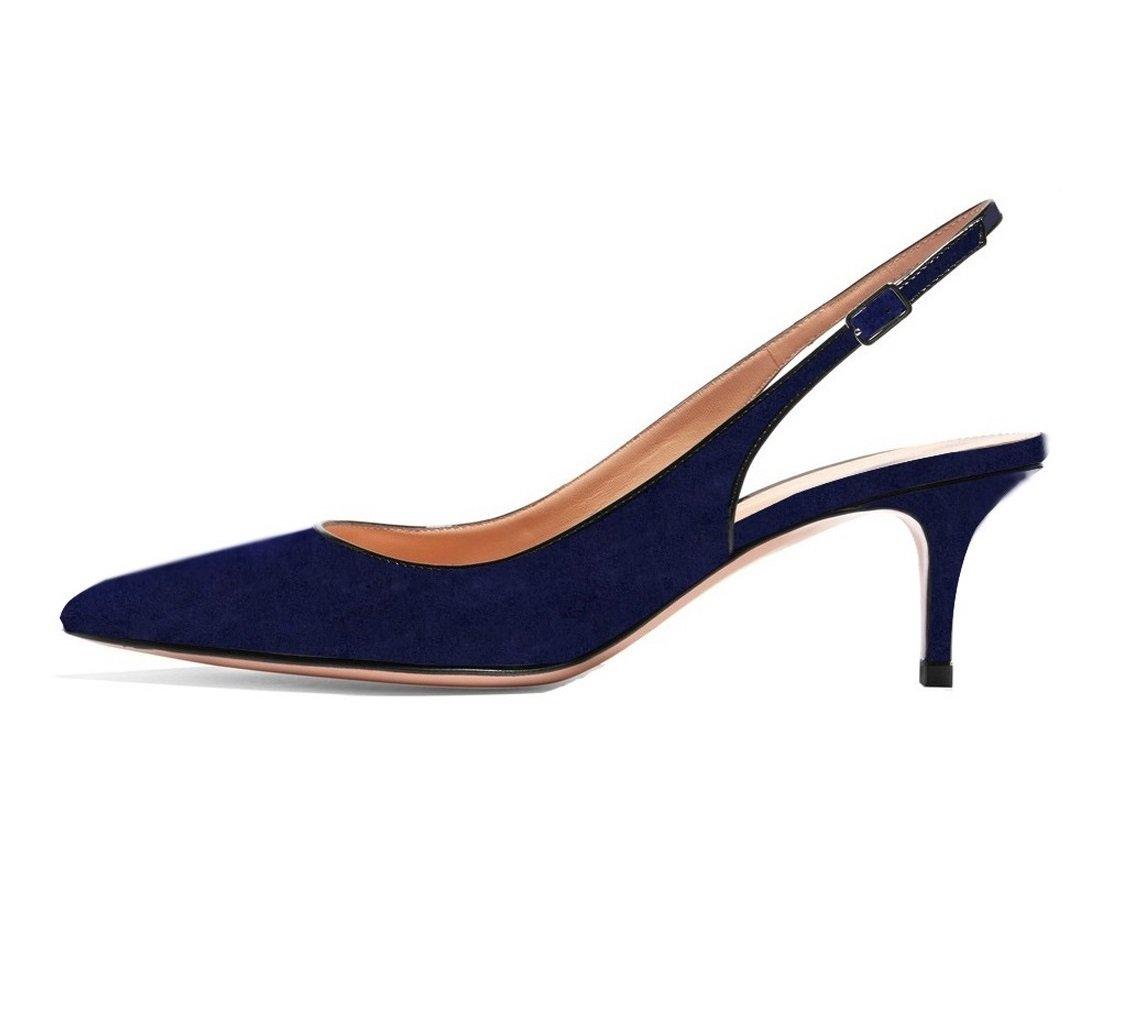 EDEFS Damen Kitten-Heel Slingback Pumps Spitze 6.5cm Mittlerer Absatz Pointed Toe Schuhe  43 EU|Navy