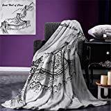 Great Wall of China Digital Printing Blanket Asian Architecture on Northern Mountain Ruins Sketchy Artsy Illustration Summer Quilt Comforter 80''x60'' Grey