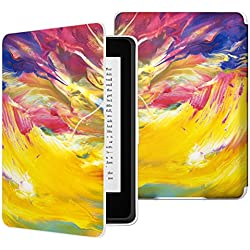 MoKo Case for Kindle Paperwhite, Premium Thinnest and Lightest PU Leather Cover with Auto Wake / Sleep for Amazon All-New Kindle Paperwhite (Fits 2012, 2013, 2015 and 2016 Versions), Painted Sky