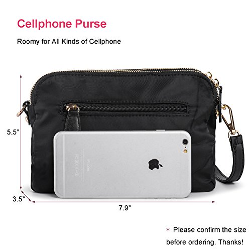 Shoulder Cell Crossbody Purses Women Nylon Small Phone Three Black Bags Purse Layers 8w8qEx6gZ