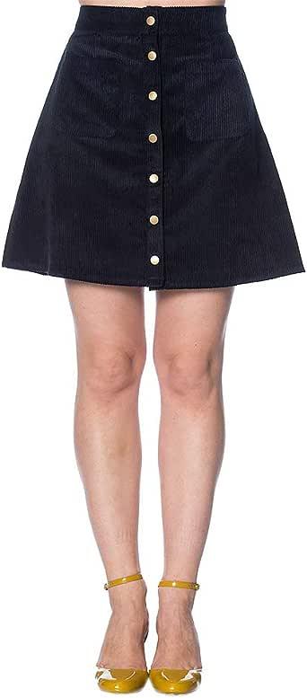 Banned Mini Falda de Pana Tipo Años 60 - Azul Marino: Amazon.es ...