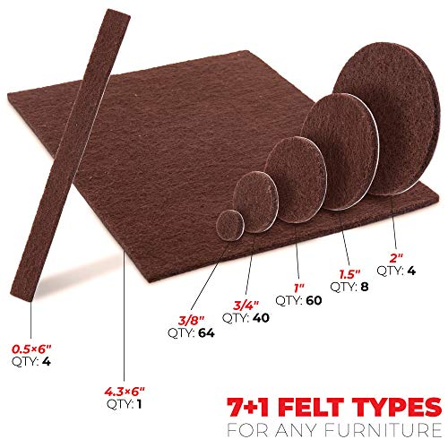 X-PROTECTOR Premium ULTRA LARGE Pack Felt Furniture Pads 181 piece! Felt Pads Furniture Feet ALL SIZES – Your Best Wood Floor Protectors. Protect Your Hardwood Flooring with 100% Satisfaction! by X-Protector (Image #2)