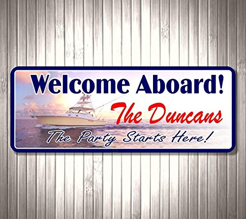 CELYCASY Welcome Aboard Personalized Sign for Yacht with Beautiful Seascape, Boat and Fishing Poles, Custom Family Name &¡°Party Starts Here¡±, -