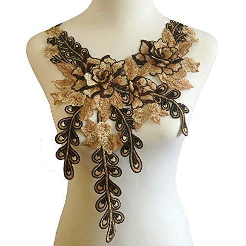 Coffee Khaki Brown Color Embroidered Lace Neckline Collar Warm Tones Floral Brown Leaf Applique Patches Scrapbooking Embossed Sewing (Style -