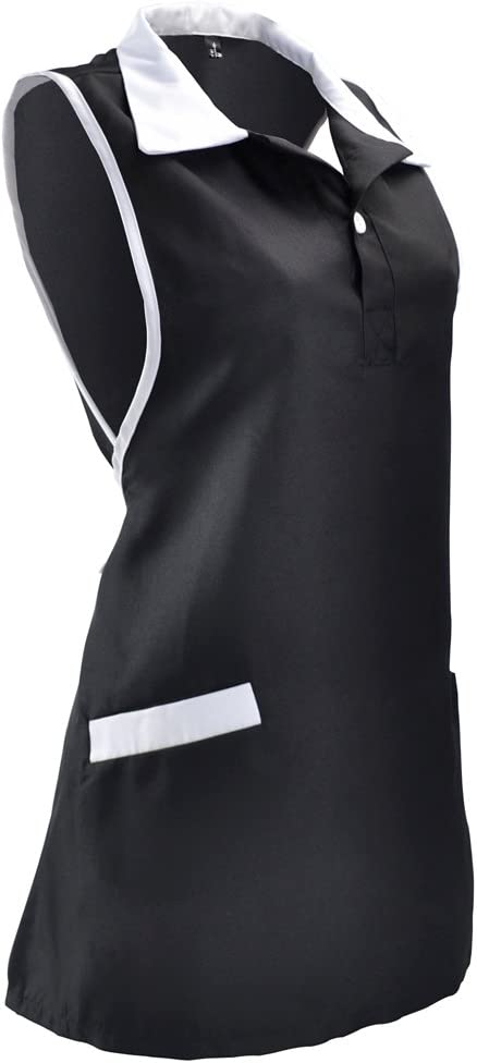 Neobang Women Sleeveless Workwear Apron with Pockets Adjustable Working Dress Waiter Uniform