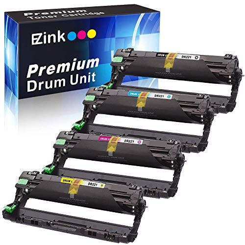 E-Z Ink(TM) Remanufactured Drum Unit Replacement for Brother DR221CL DR221 DR-221 to use with HL-3140CW HL-3170CDW MFC-9130CW MFC-9330CDW MFC-9340CDW (1 Black, 1 Cyan, 1 Magenta, 1 Yellow) 4 Pack (Cl Hl To)