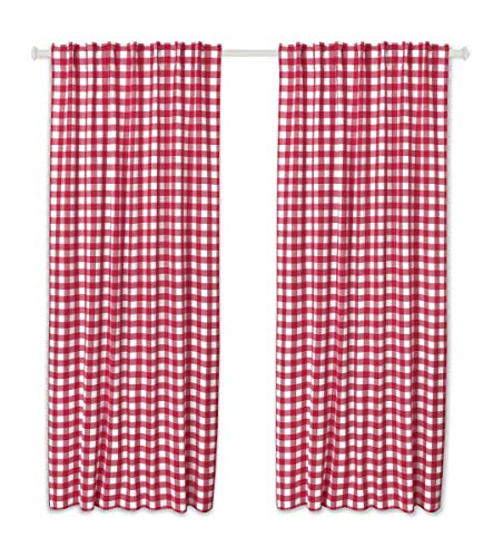 Cotton Clinic Gingham Buffalo Check Window Curtains 2 Panels 50x108, Curtains for Living Room, Curtains for Bedroom, Curtains 108 Inch Length, 2 Pack Set Cotton Tab Top Curtains Red White