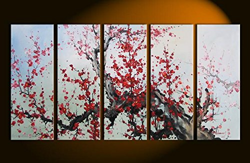 TJie Art Hand Painted Mordern Oil Paintings Color Ink Plum Blossom Home Decoration Abstract Landscape Oil Painting Splice 5-piece/set on Canvas