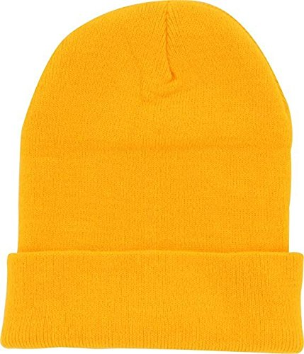Cap Cold Winter Cuff Beanie (40+ Multi Color Available) (Gold) ()