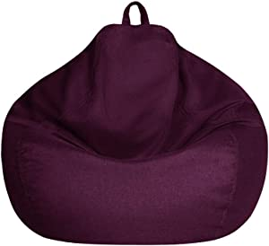 Bean Bag Chair Cover Only without Filling - Extra Large, Stuffed Animal Storage&Memory Foam - Washable Premium Soft Cotton Linen, Sturdy Zipper Beanbag Case, Sack Bean Bag for Adults,Kids,Teens