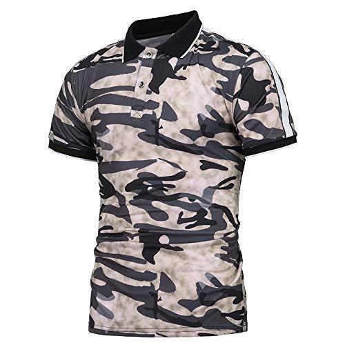 NISHISHOUZI Polo Homme,Polo Kaki Été Vêtements Hommes Manches Courtes en Coton Militaire Camouflage,Respirant Et… 4