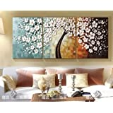 Stretched Frame Hand Painted Oil Paint Promotion Free Shipping White flower oil painting Canvas picture oil painting living room large canvas wall art 3 canvas 12x20inchx3(30x50cmx3)