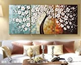 Living Room Furniture Best Deals - Stretched Frame Hand Painted Oil Paint Promotion Free Shipping White flower oil painting Canvas picture oil painting living room large canvas wall art 3 canvas 12x20inchx3(30x50cmx3)