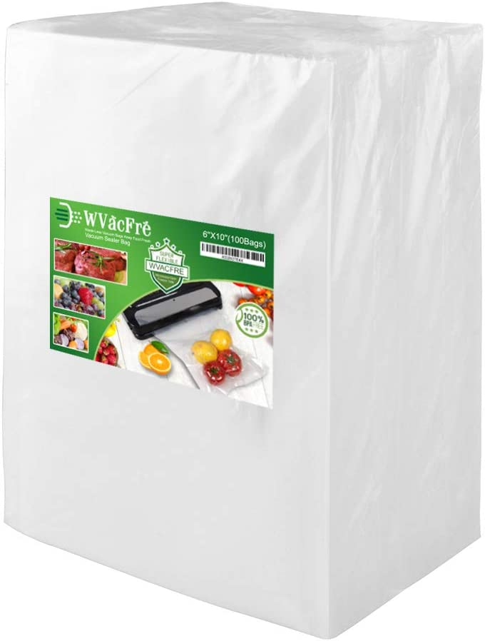 WVacFre 100 Pint Size 6x10Inch Food Saver Vacuum Sealer Bags with Commercial Grade,BPA Free,Heavy Duty,Great for Food Vac Storage or Sous Vide Cooking