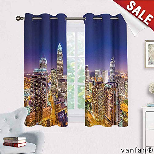 Wide Tap Curtains Hippie,Panoramic North Carolina Uptown Sky at Night Cityscape Luminous Town Picture Curtains to Block Out Heat,Indigo Orange W63 x L72