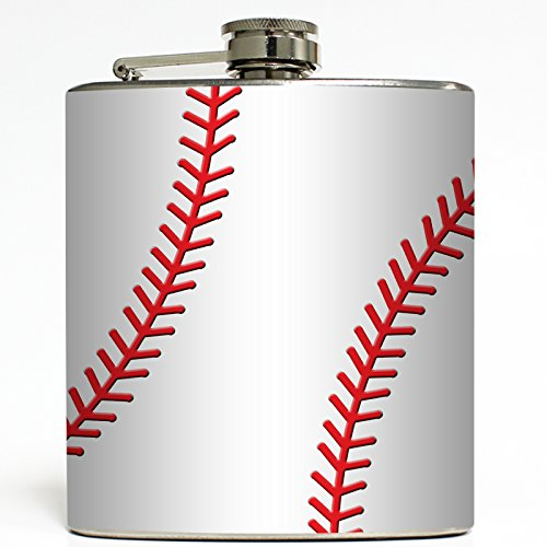 Baseball - Sports Flask - Liquid Courage Flasks - 6 oz. Stainless Steel Flask (Baseball 6 Ounce Flask)