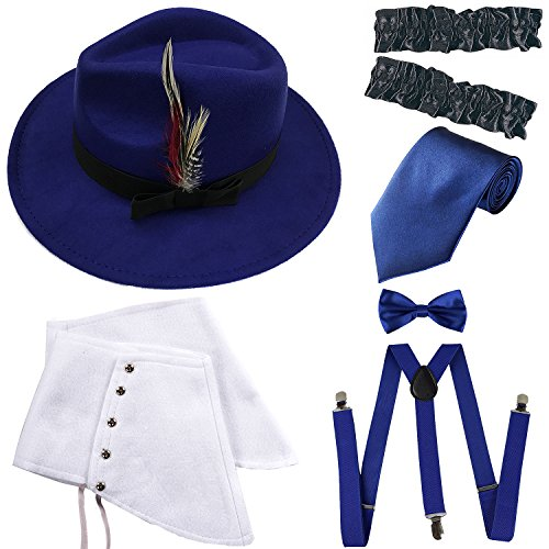 1920s Trilby Manhattan Gangster Fedora Hat, Gangster Spats,Garters Armbands,Suspenders Y-Back Elastic Trouser Braces,Pre Tied Bow Tie,Gangster Tie (OneSize, Royal Blue) from ZeroShop