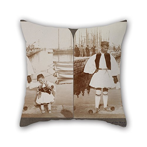 Loveloveu 18 X 18 Inches / 45 By 45 Cm Oil Painting Underwood Underwood - Father And Son In The Patras Harbour Cushion Covers Twice Sides Ornament And Gift To Wife Bench Dining Room Deck Chair Him (Harbour Lights Ornament)
