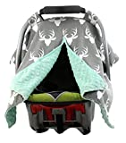 : Dear Baby Gear Carseat Canopy, Antlers on Grey, Mint Minky
