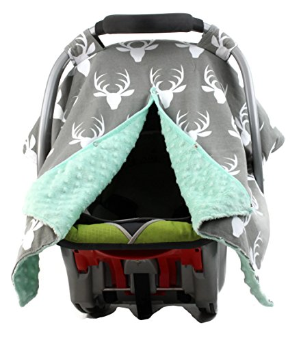 Dear Baby Gear Carseat Canopy, Antlers on Grey, Mint Minky