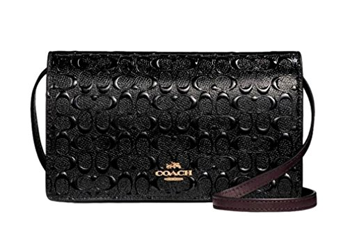 Debossed F15620 Fold Crossbody Leather Signature Patent Coach Clutch Black q8wIvB