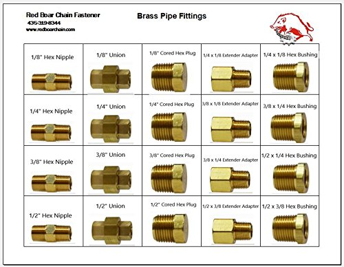 Brass Pipe Fittings in 20 Hole Metal Tray Assortment (13-3/8w x9-1/4d x 2h)