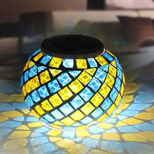 Solar Powered Mosaic Glass Ball Garden Lights, Color Chan...