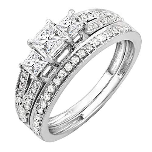Dazzlingrock Collection 1.00 Carat (ctw) 14K Princess 3 Stone Diamond Engagement Bridal Ring Set 1 CT, White Gold, Size 7