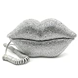 EPLAZA Silver Sexy Lips Mouth Fixed Land Line Telephone Shining Desk Wired Corded Phone Home Office Decoration
