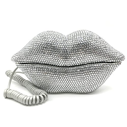 EPLAZA Silver Sexy Lips Mouth Fixed Land Line Telephone Shining Desk Wired Corded Phone Home Office Decoration by EPLAZA