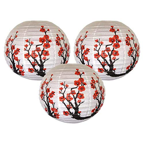 Set Of 3 - Set Of 3 Red Sakura Cherry Flowers White Color Chinese Japanese Paper Lantern Lamp 16 Inch Diameter - Lantern Instant Fish Mixing Nail Assorted Brown Kettle Storage Tall Lanterns Valv