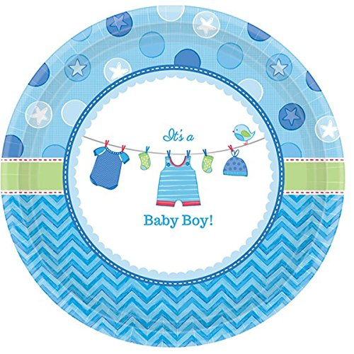 New Baby Boy Plate (Adorable Shower with Love Boy Round Baby Shower Party Paper Plates Disposable Tableware and Dishware, 10 1/2