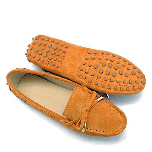 Minishion Tyb9602 Donna Mocassini Casual In Pelle Scamosciata Scarpe Da Guida Penny Mocassini Appartamenti Arancione
