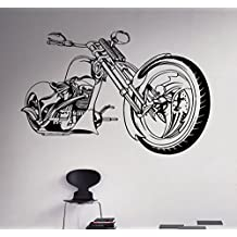 Heavy Motorcycle Wall Decal Chopper Vinyl Sticker Home Bike Racing Interior Removable Decor Housewares Design 4(mbk)