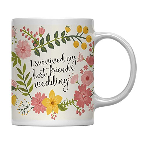 Andaz Press 11oz. Wedding Party Coffee Mug Gift, Vintage Bohemian Floral Flowers, I Survived My Best Friend's Wedding, 1-Pack, Bridal Shower Engagement Birthday Christmas Gift for Her