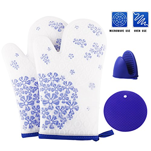 Microwave Oven Mitts (Silicone Oven Mitts, Heat Resistant Cooking Gloves, Non-Slip Oven Mitts and Pot Holders with Quilted Cotton Lining for Kitchen, Grilling, BBQ, Microwave By Uvistare (Blue))
