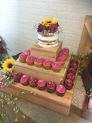 Rustic Table Round Cedar - Rustic Cedar Set of 3 Square Wood Cake Stand Cupcake Display Riser Display