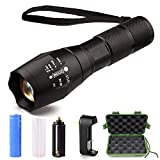 LQG Direct LED Flashlight, Super Bright Handheld Outdoor Flashlight Rechargeable 18650 Lithium Ion Battery Adjustable Focus 5 Light Modes for Camping hiking (Black)